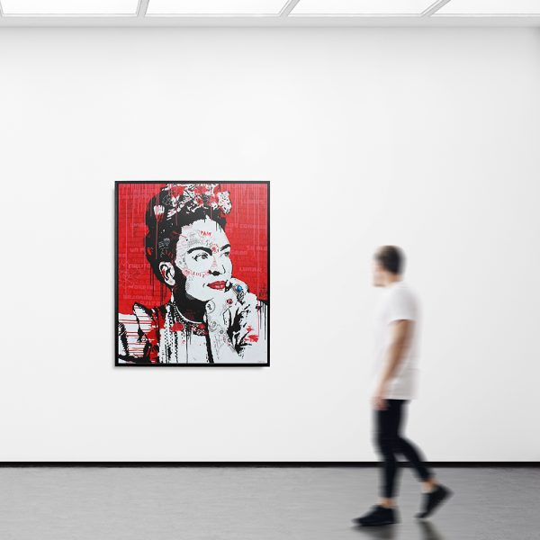 Young man walking in the empty gallery